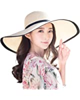 Siggi Womens UPF50 Foldable Summer Sun Beach Straw Hats Accessories Wide Brim