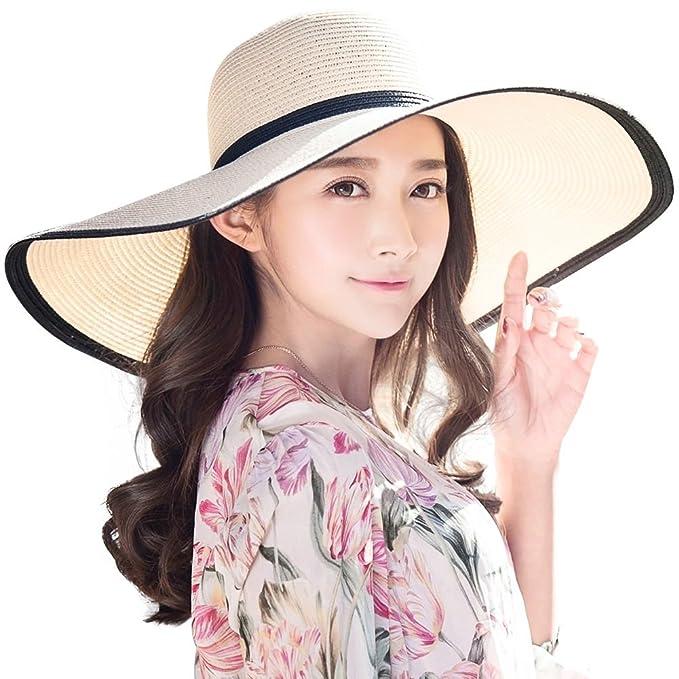 2b9a515ff52 SIGGI Summer Straw Panama Beach Floppy Sun Hat Round Wide Brim for Women  Beige
