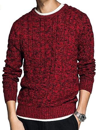 PASLTER suéter de Punto de algodón para Hombre, suéter de Punto ...