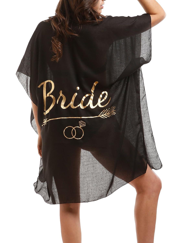 Brideblack MIRMARU Women's Summer Swimwear Bikini Beach Cover Up with Trendy Lettering.
