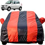 Autofact Car Body Cover for Maruti Alto Old Model (2000 to 2014) (Mirror Pocket Fabric, Triple Stiched, Fully Elastic, Red/Blue Color)