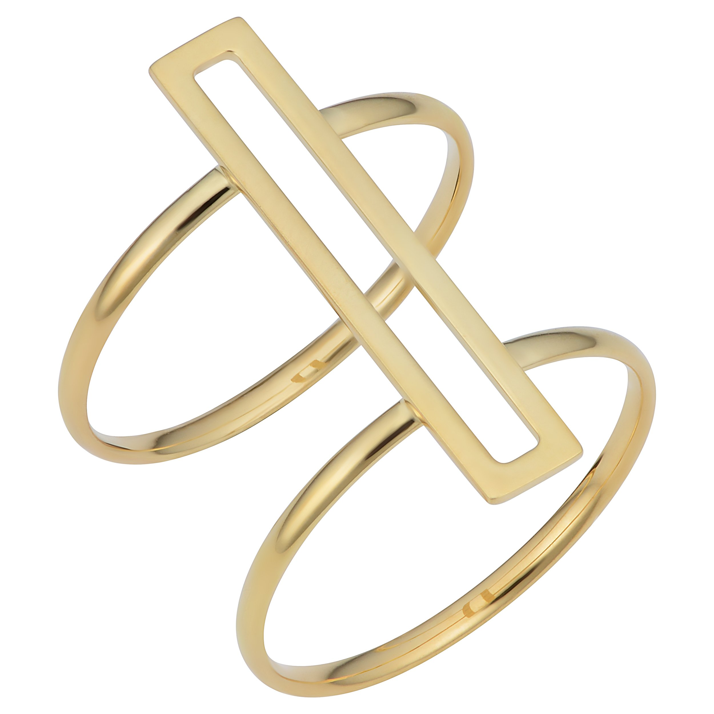 14k Yellow Gold Bar Double Band Ring (size 8)