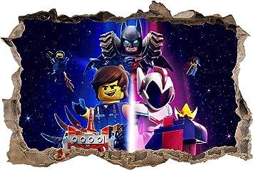 The Lego Movie 2 Decal 3D Smashed Wall Sticker Art Mural Lego Batman J1351