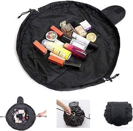 Lazy Drawstring Makeup Bag,Portable Large Travel Cosmetic