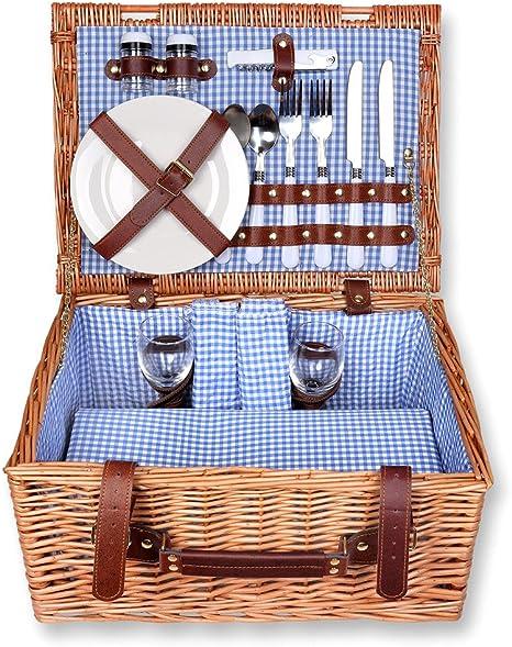 Picknickkorb Picknickkoffer Picknickset Weidenkorb Kühlfach Picknick Korb für 2