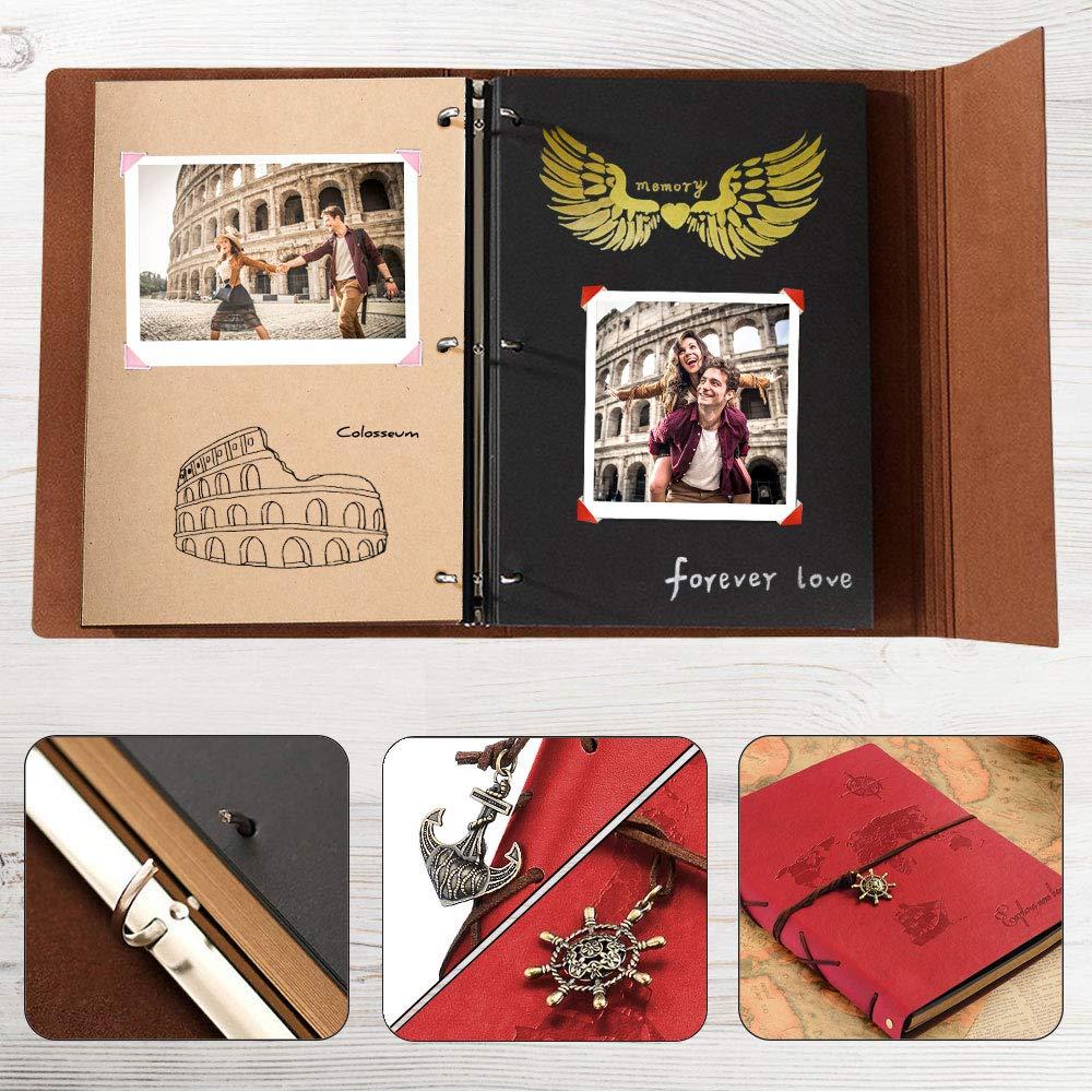 ZEEYUAN Album Fotos 18x22cm, Album de Fotos Cuero Retro Viaje Mapa Mundial Libro Album Scrapbooking Autoadhesivas DIY Sketchbook Especial Cumpleaños ...