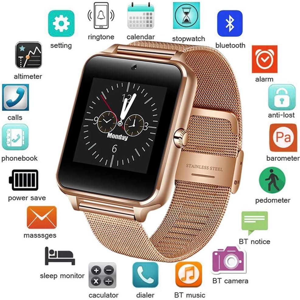 KDSFJIKUYB Pulsera de Actividad Acero Inoxidable Bluetooth Smart Watch Mujeres Hombres Deporte Impermeable SmartWatch LED Color Pantalla táctil Reloj Soporte SIM TF