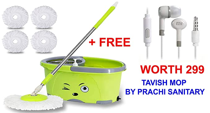 TAVISH MOP BUCKET MAGIC SPIN MOP Bucket Double Drive Hand Pressure Stainless Steel Mop with 4 Microfiber Mop Head Household Floor Cleaning & 4 Color May Vary AND ALSO FREE A EARPHONE WHICH CAN BE USED WITH MI OR OTHER PHONE WORTH 299