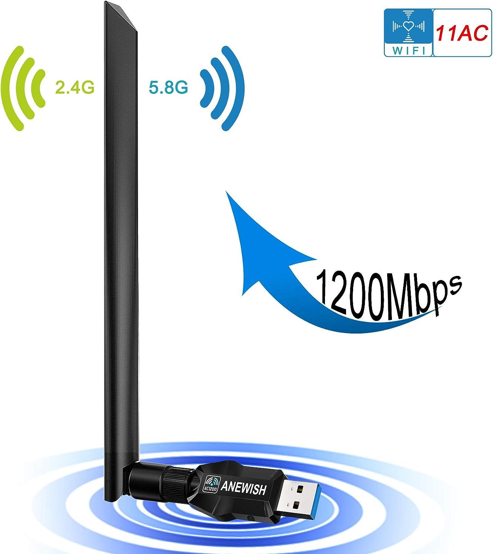 ANEWISH 1200Mbps Adaptador WiFi USB 3.0 Wireless USB Adapter con Antena 5dBi Tarjeta de Red 802.11ac Dual Band 2.4G/5.8G Dongle WiFi Receptor WiFi ...