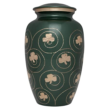 Ansons Urns Irish Shamrock Cremation Urn – Clover Funeral Urn in Several Colors – Burial Urn for Human Ashes – Detailed Hand Engraving – 100 Brass Green and Gold
