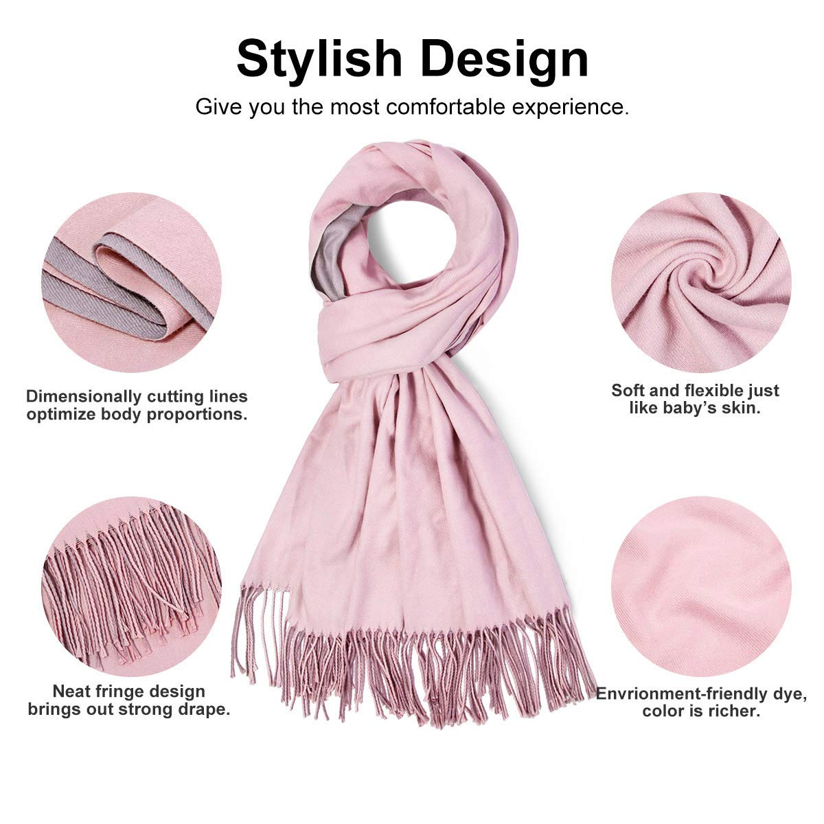 Women Scarf yeabiu Cashmere Scarf Large Winter Fringe Scarf Warm Wool Shawl Wrap Stole for Women, Pink