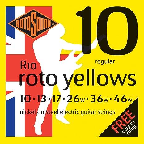 Rotosound Roto Yellows R10 Cuerdas para guitarra eléctrica 10 – 46 (2 paquetes)