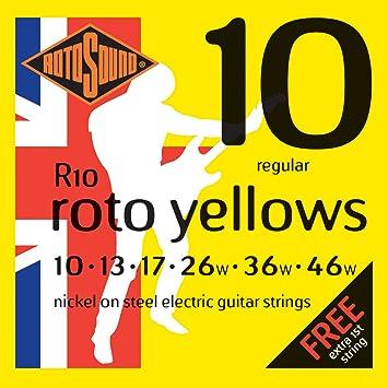 rotosound roto yellows jeu de cordes pour guitare electrique nickel tirant regular 10 13 17 26 36 46