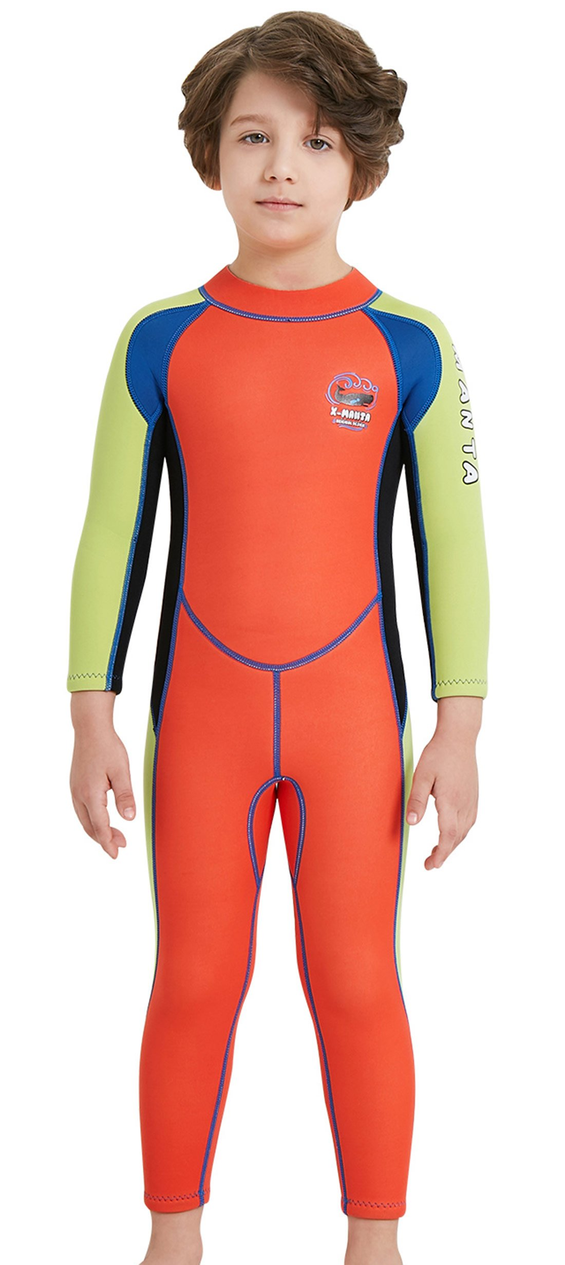 DIVE & SAIL Wetsuits for Kids Boys Girls Rash Guard One Piece Diving Swimsuit UV Protection Coloful Swimwear Orange XL by DIVE & SAIL