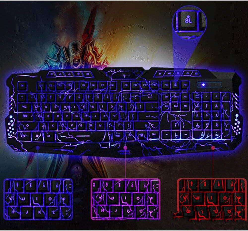 TRDyj Keyboard English Three-Color Crack Backlit Keyboard Multiple Lighting Modes Suitable for Various Games Color : Black