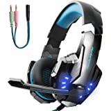 Hunterspider Gaming Headset for PS4, Xbox One Headset with Mic, Noise Cancelling Over Ear Headphones, LED Light, Bass Surround, Soft Memory Earmuffs for Laptop Mac iPad Computer Nintendo Switch Games