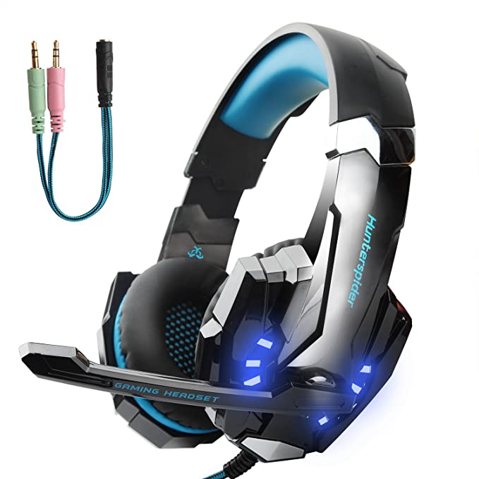 Review Hunterspider Gaming Headset for PS4, Xbox One Headset with Mic, Noise Cancelling Over Ear Headphones, LED Light, Bass Surround, Soft Memory Earmuffs for Laptop Mac iPad Computer Nintendo Switch Games