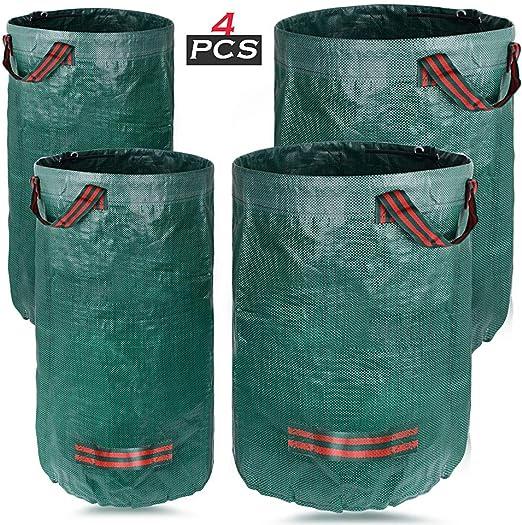 4pcs Bolsas de Basura de Jardín Sacos de Jardín Plegables para Desechos de PP Reutilizables con Asas para Jardinería Parque Césped Bosque (2pcs 272L, 2pcs 120L): Amazon.es: Jardín