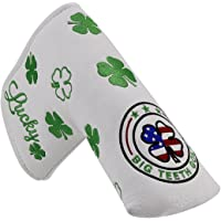Big Teeth Golf Green Lucky Clover Putter Headcover Protector White For Scotty Cameron Taylormade Odyssey