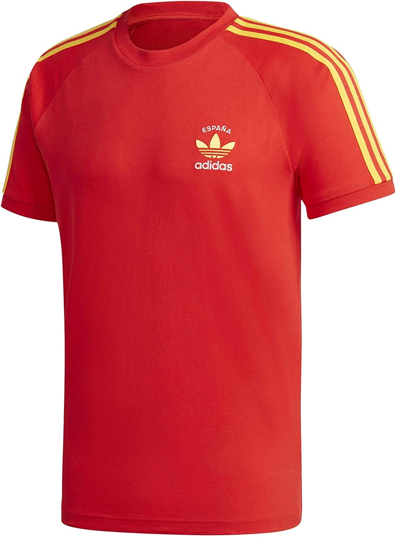 Incorporar Tigre Conciliar  Adidas Spain 3 Stripes T-Shirt XL Red: Amazon.co.uk: Clothing