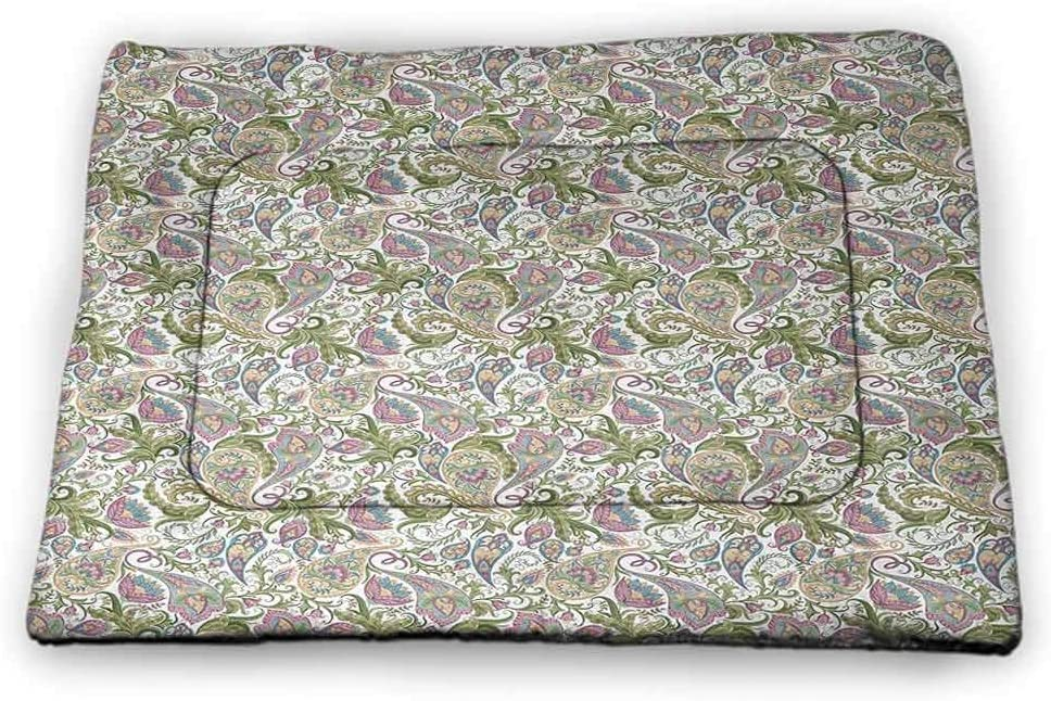 Pet Mat Paisley for Litter Boxes Colorful Persian Teardrop Shapes with Curved Tip Timeless Oriental Cultures Motifs Multicolor