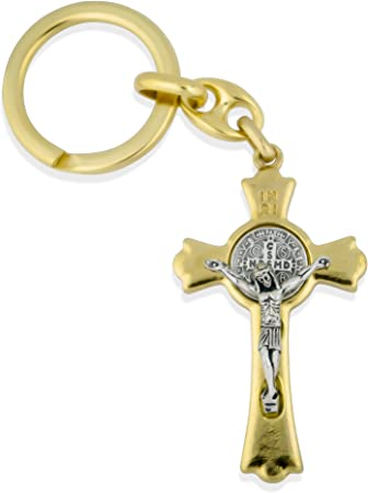 Catholic Saint Benedict Key Chain with 2 Cross Fob Gold with Green Enamel