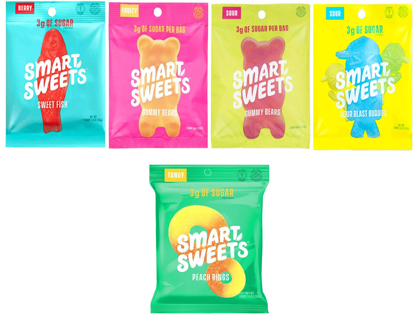 SmartSweets, Gummy Candy Variety of 5 (Peach Rings, Sweet Fish, Sour Blast Buddies, Fruity Gummy Bears, Sour Gummy Bears) Free of Sugar Alcohols and No Artificial Sweeteners by Peaceful Squirrel