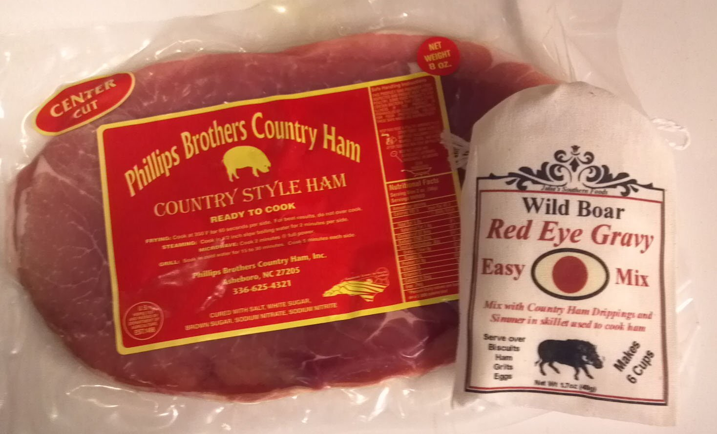 NC Country Ham Center Cuts 1 Lb Pkg and Red Eye Gravy Mix