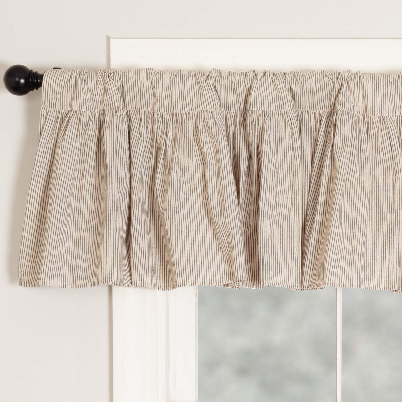 Sara's Ticking Ruffled Valance Curtain, 72'' W x 16'' L, Black & Cream Mini Mini Stripe, Vintage Farmhouse, Country Cottage Window Valance by Piper Classics