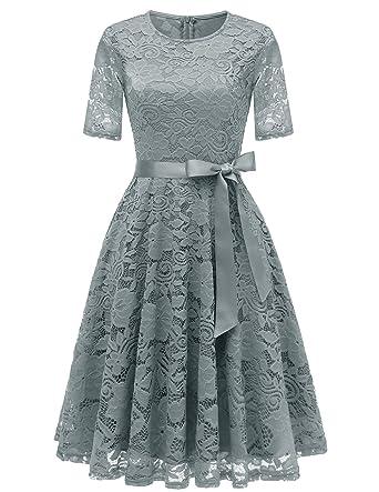 e2cf50c1aa6b6 Dresstell(ドレステル) 結婚式ドレス 多彩 レースワンピース ひざ丈 半袖 ベルト付き 裏地