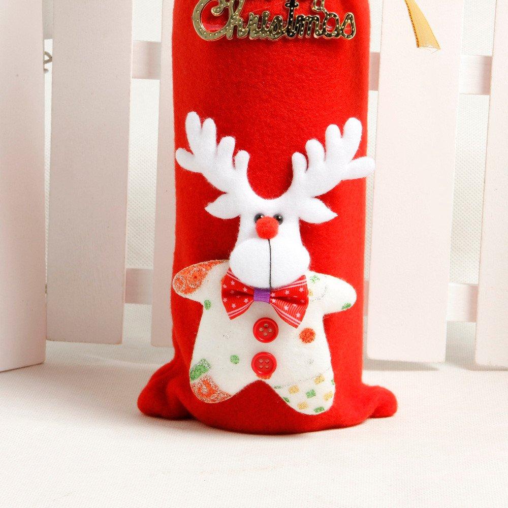 Cubierta de la botella de vino de Navidad,Navidad Botella de Vino Cubiertas Bolsas Decoración de la Mesa de Cena Para la Decoración Del Partido: Amazon.es: ...