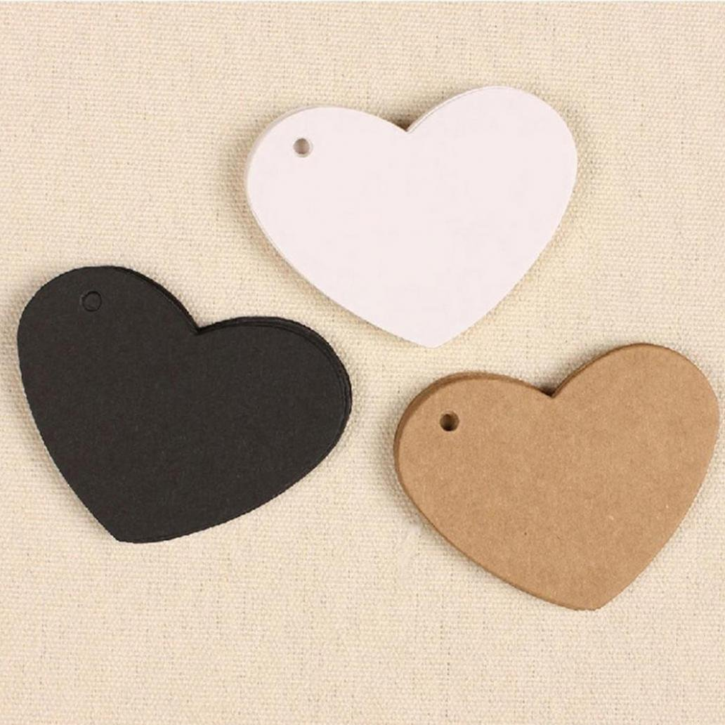 Livecity DIY Wave Edge Love Heart Gift Paper Label Price Hang Tags Wedding Party Cards Black