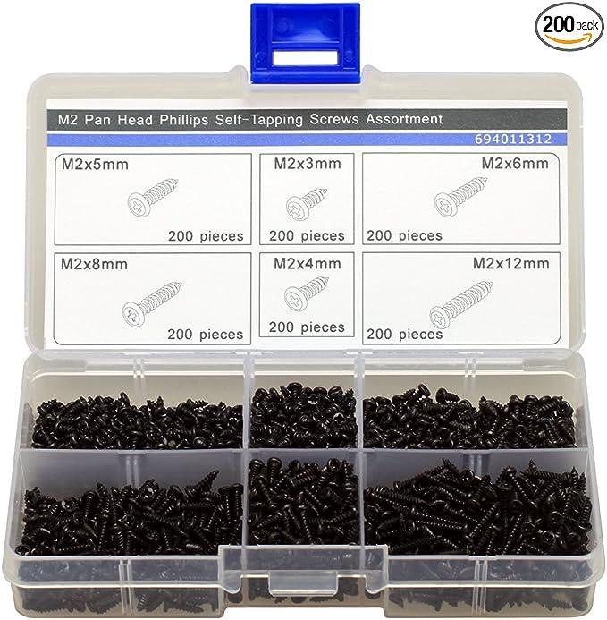 400Pcs M2//M2.6 Cross Pan Head Self Tapping Screws Set Black Cross Tapping Screws Assortment Kit for Plastic,Wood,Soft Metal,etc Self Tapping Screw