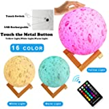 Moon Lamp, 16 Colors LED 3D Print Moon Light with
