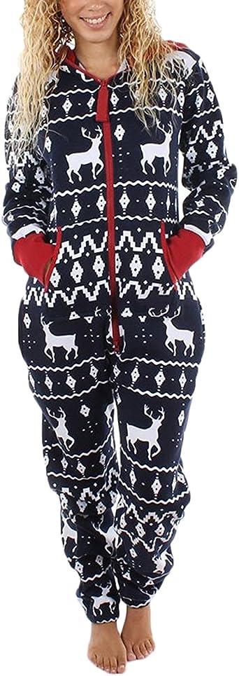 Mujeres Monos Conjunto De Pijama De Navidad Hombre Tallas Grandes Suelto Ropa De Dormir Jumpsuit Overall Cremallera Impresion Reno Pijamas Navidenos Mas Grueso Calido Xmas Homewear Manga Larga Amazon Es Ropa Y Accesorios
