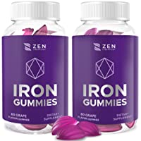 (120 Count) Iron Gummies Supplements for Women Men | Multivitamin Zinc Vitamin A/C/B Prenatal Gummy, Anemia Blood Builder for Adults Kids - Alternative to Iron Pills, Chewable Tablets, Capsules