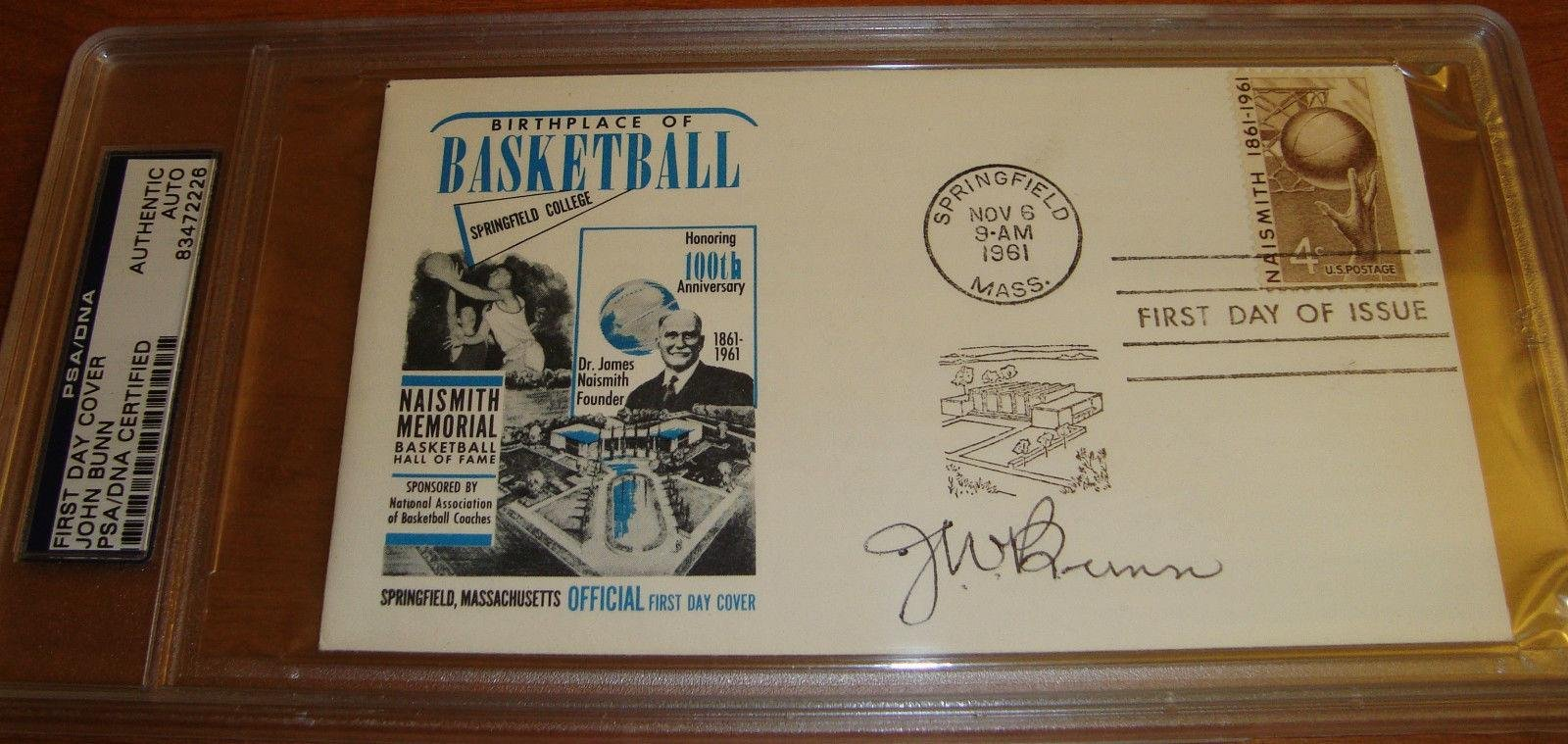 John W. Bunn signed auto FDC First Day Cover basketball HOF Phog Allen - PSA/DNA Certified - NBA Cut Signatures by Sports Memorabilia