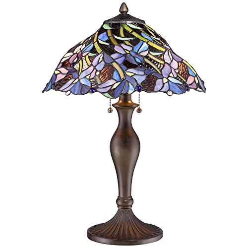 Grady Traditional Table Lamp Vintage Bronze Metal Floral Swirl Antique Stained Art Gla