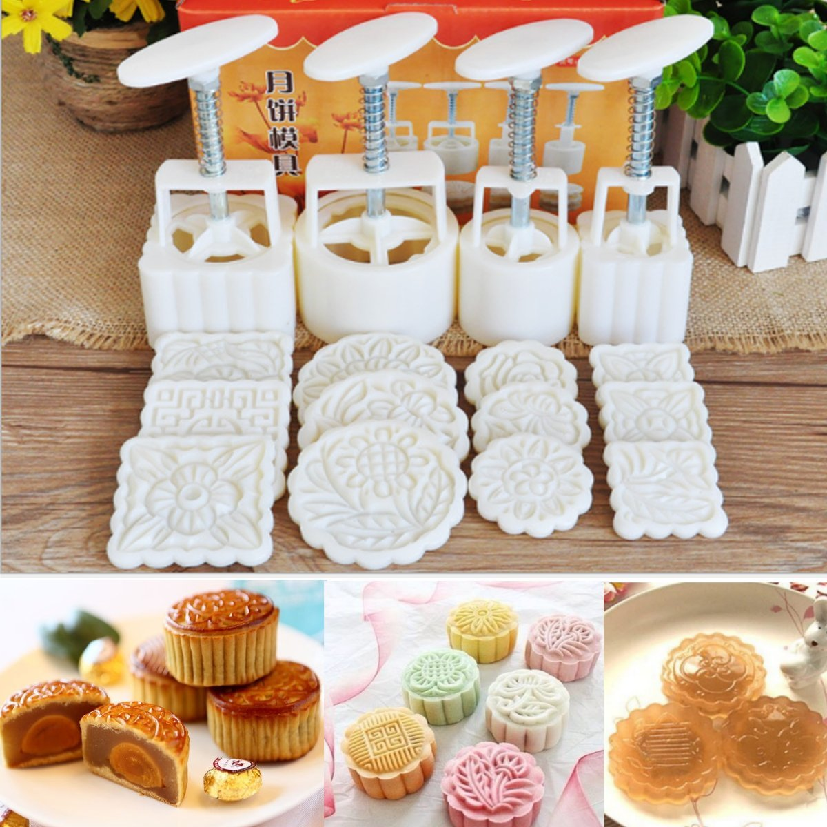 KINGSO Mid-Autumn Festival Mooncake Mold Hand Pressure Mould DIY Cake Decoration Tool (12 Flower Stamps)