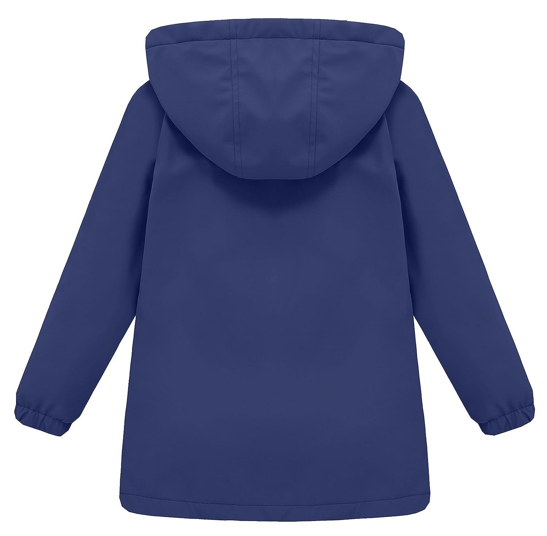 Wantdo Girls and Boys Hooded Rain Jacket Waterproof Fleece Lined Windbreaker