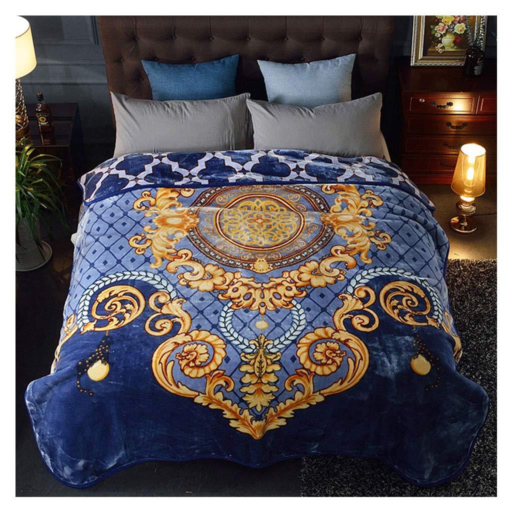 毛布Raschel柔らかいふわふわ居心地の良い二重厚い暖かいヨーロッパ風の毛布200 * 230cmを投げる (色 : 青) B07J38XY8B 青