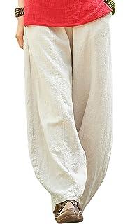 48f9f3c92b Happy Cherry - Femme Pantalon Large Lin Coton Pantalon Ample Casual Pants  Bouffant avec Poches Yoga