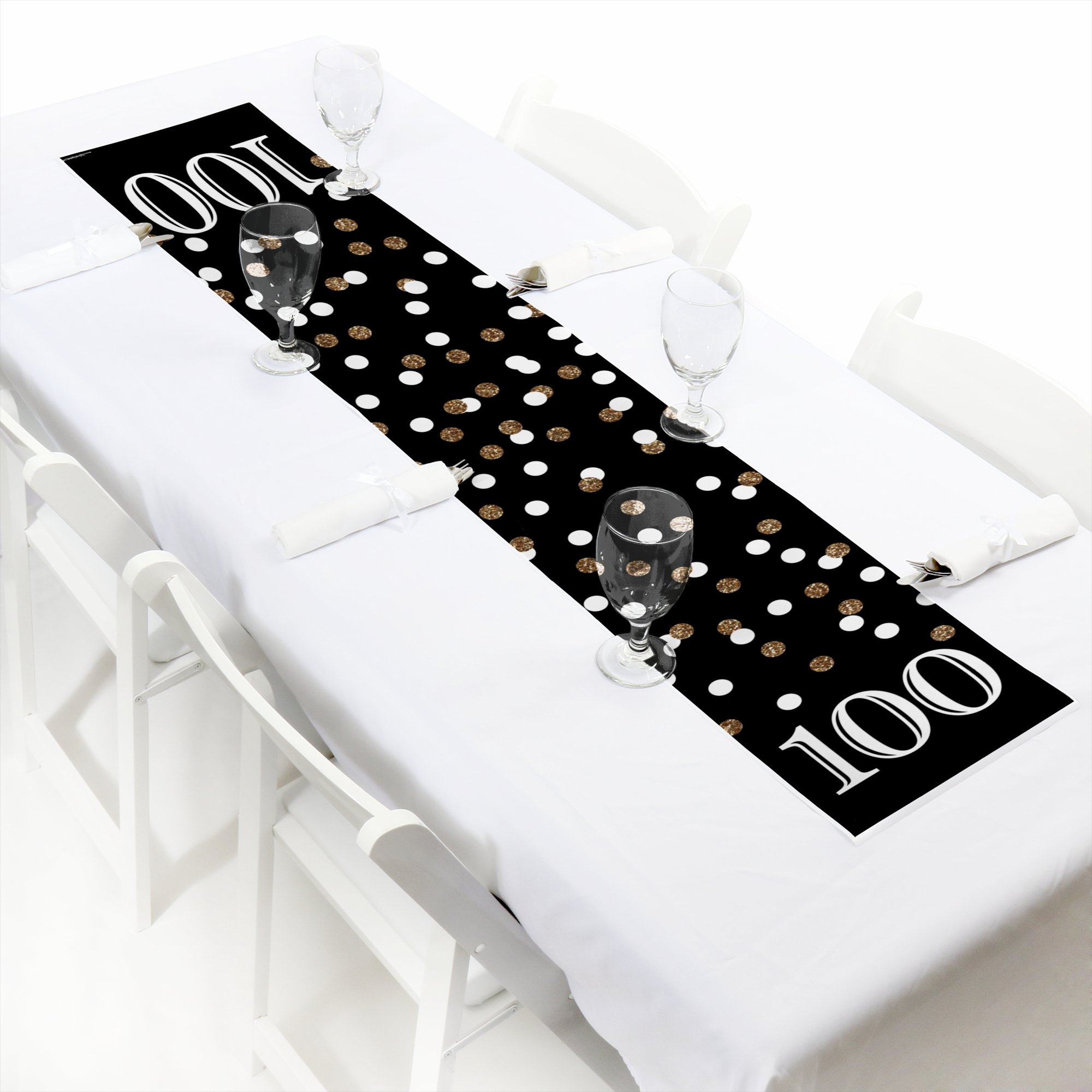 Adult 100th Birthday - Gold - Petite Birthday Party Paper Table Runner - 12'' x 60''