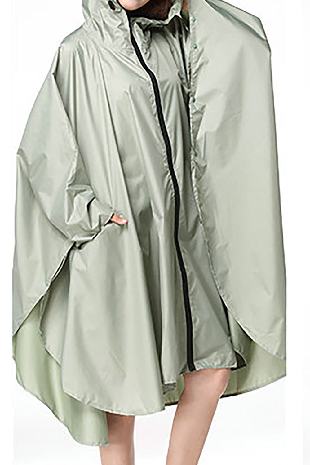 QZUnique Lightweight Outdoor Hooded Waterproof Packable Rain Poncho Jacket Coat Raincoat with Zipper for Adults by QZUnique (Image #3)