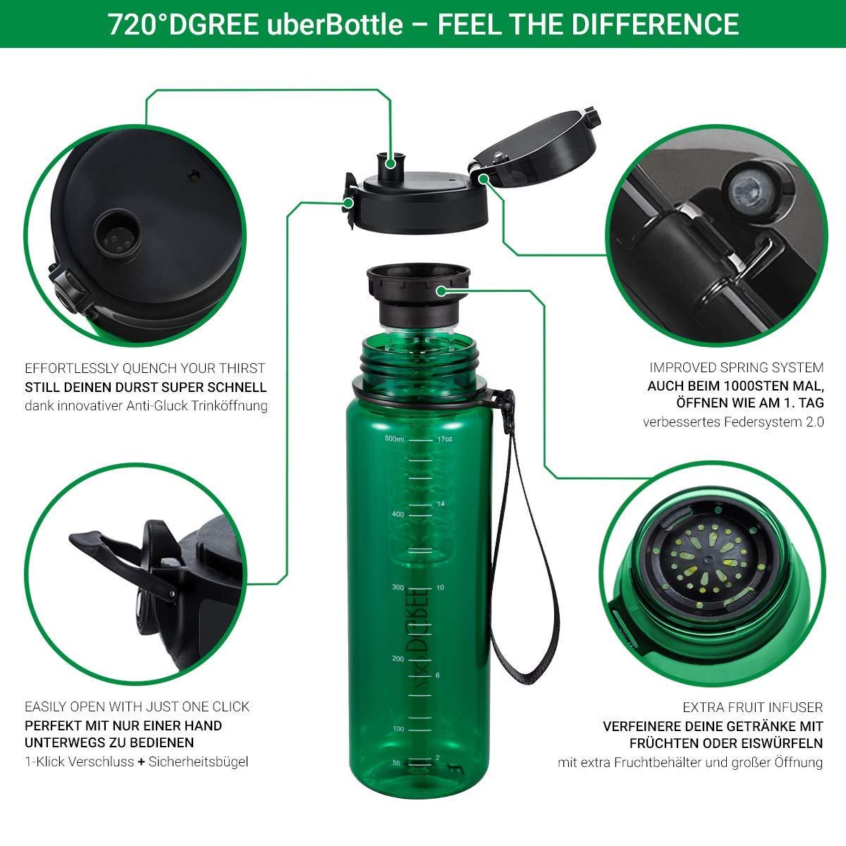 """500ml con Inserto de Fruta Escuela Deporte Sin BPA 720/°DGREE Botella de Agua /""""uberBottle/"""" Impermeable y Reutilizable para Beber Ideal para ni/ños"""