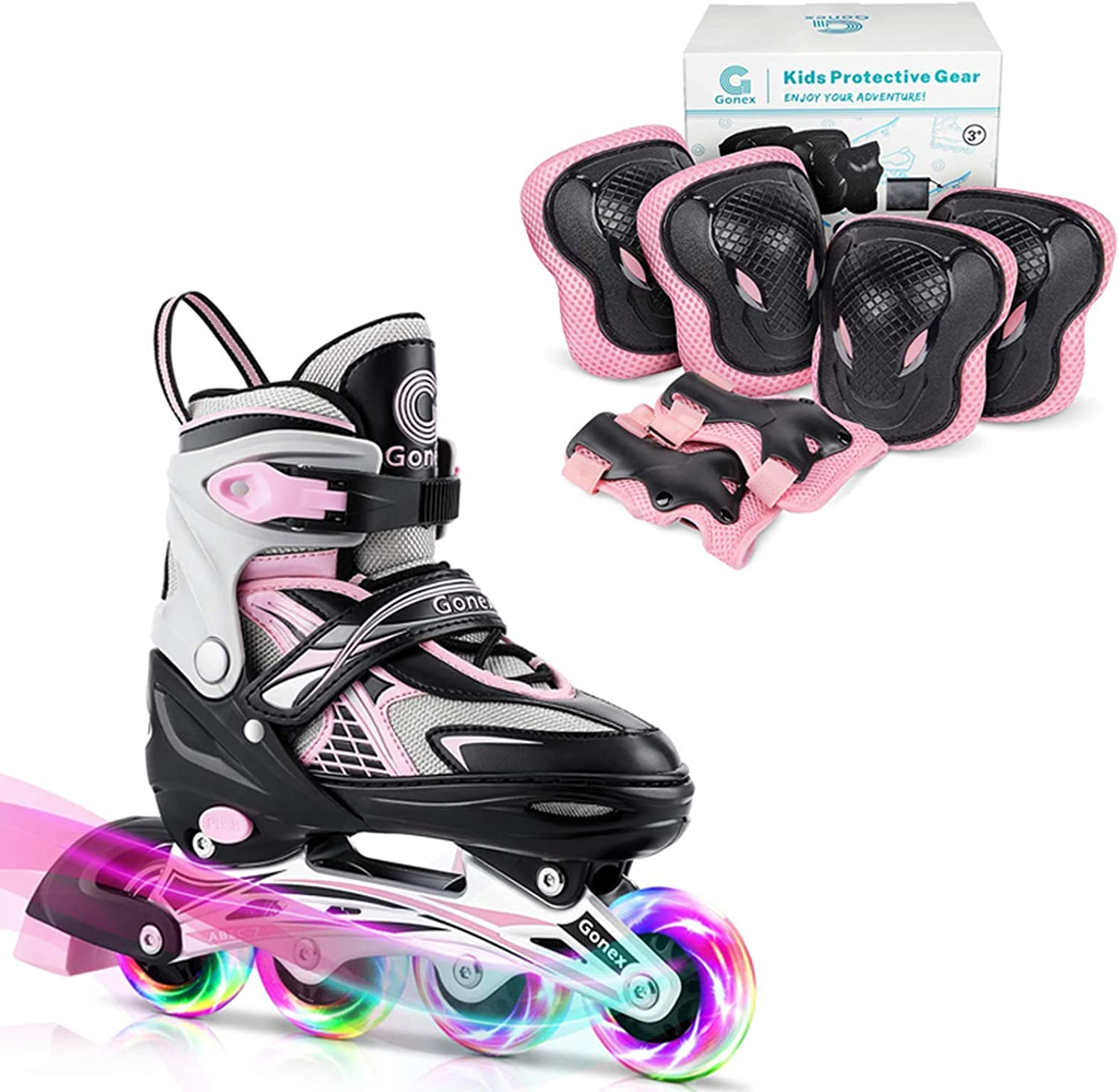 Gonex Inline Skates with Knee Pads Elbow Pads and Wrist Guards for Girls Boys Kid Size S
