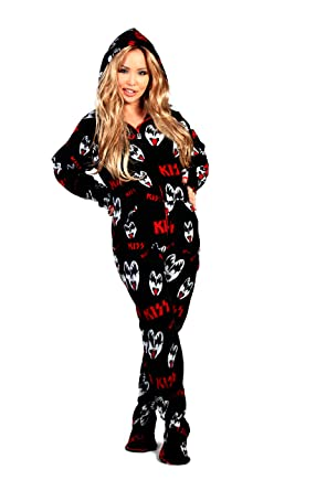 88ba35f02 Amazon.com  KISS Dr. Love Hooded Adult Onesie Footed Pajamas  Clothing