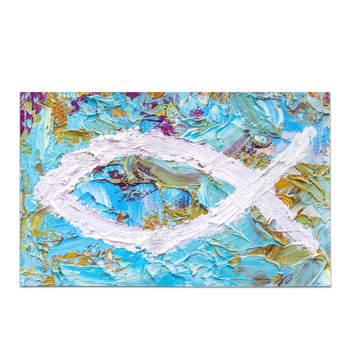 InterestPrint Colorful Christian Fish Christian Symbol Decor Non Slip Bath Rug Mat Absorbent Bathroom Floor Mat Doormat Large Size 20 x 32 Inches