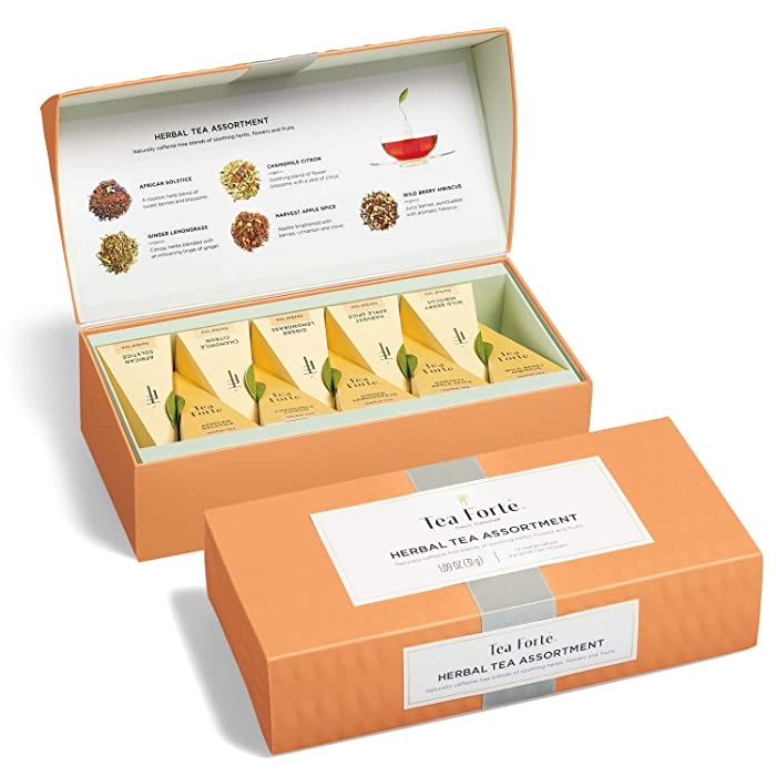 Tea Forte Petite Presentation Box Sampler with 10 Handcrafted Pyramid Tea Infusers, Herbal Tea Assortment