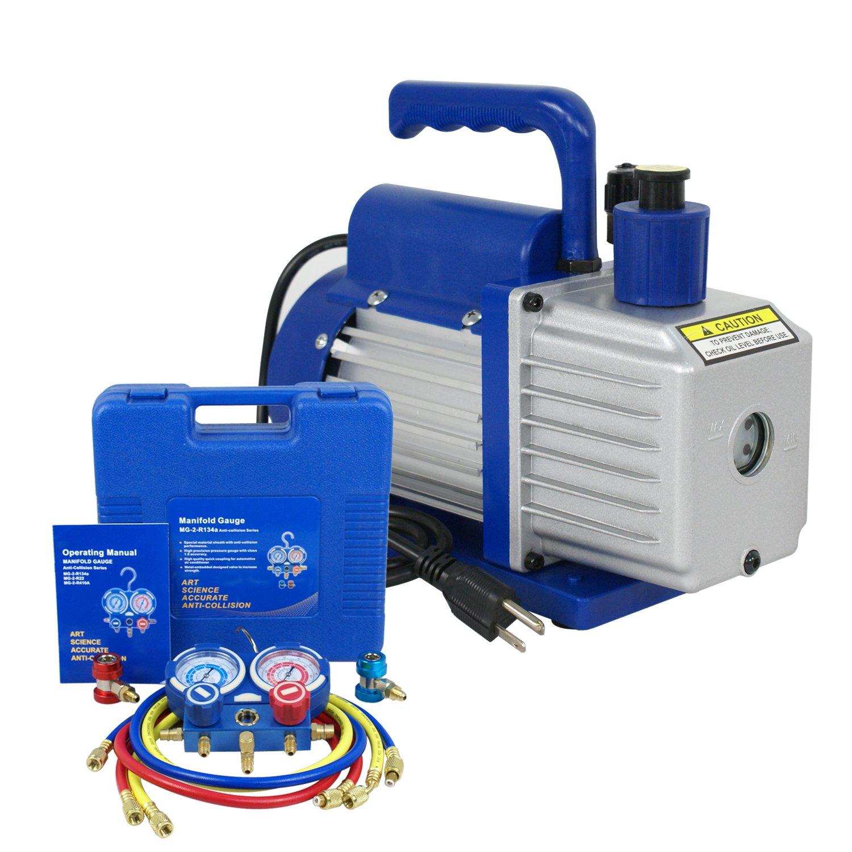 F2C 5CFM 1/3 HP Air Vacuum Pump HVAC Refrigeration KIT A/C Manifold Gauge Set Combo by F2C (Image #2)